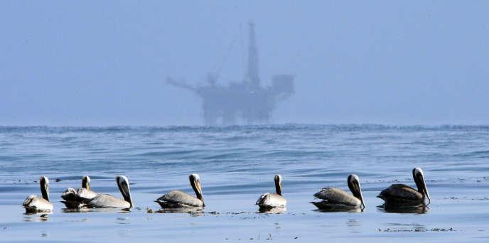 En mai 2010, une plateforme pétrolière offshore au large du canal de Santa Barbara en Californie.