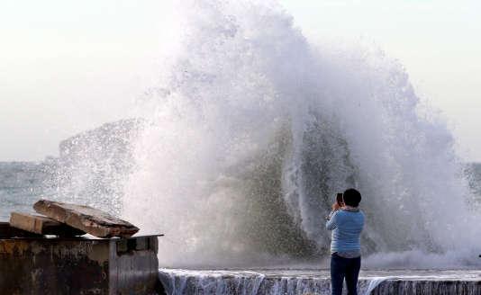 A Marseille, lors du passage de la tempête Eleanor, le 4 janvier.