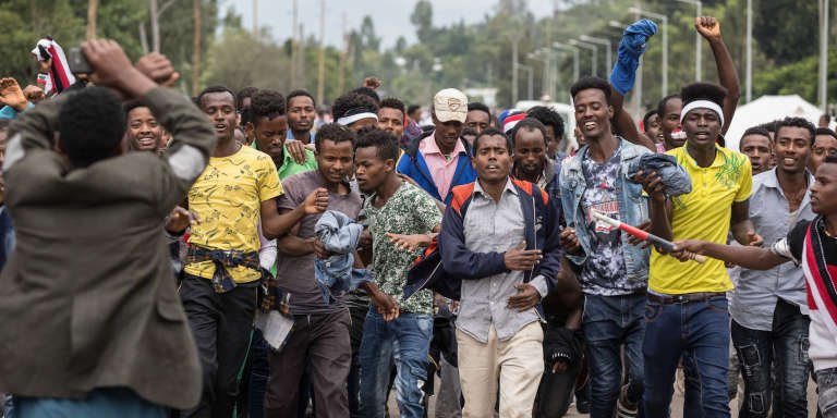 Manifestation contre le gouvernement à Bishoftu, en pays oromo, le 1er octobre 2017.