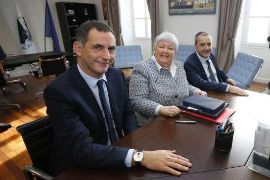 La ministre Jacqueline Gourault rencontrait Jean-Guy Talamoni (à droite) et Gilles Simeoni (à gauche), le 5 janvier.