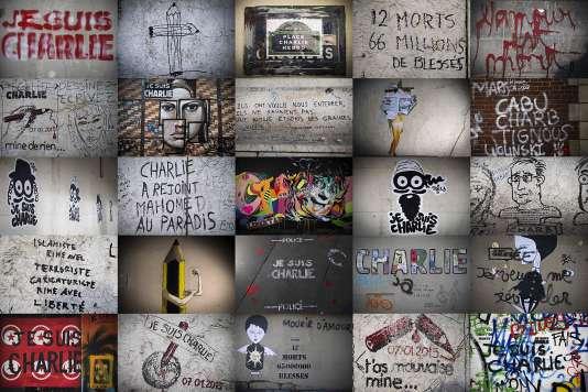 Mosaïque de graffitis en hommage aux victimes de l'attentat de « Charlie Hebdo », en janvier 2015.