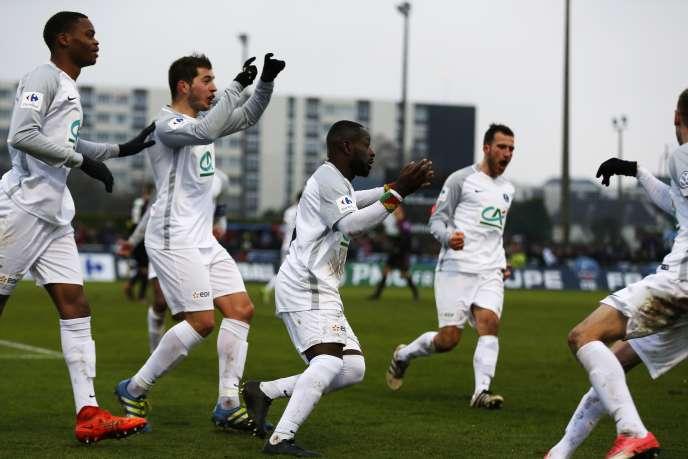 La joie des joueurs de Granville après leur qualification face à Bordeaux.