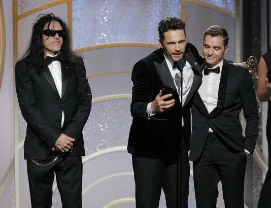 James Franco (au centre), meilleur interprète dans une comédie pour le film « The Disaster Artist», dont il est aussi le réalisateur, au côté de son frère Dave Franco et de Tommy Wiseau.