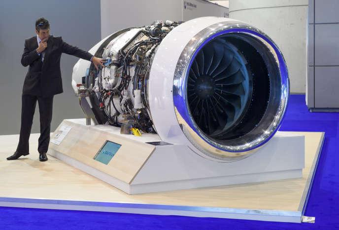 Un moteur Safran au Salon Ebace, convention de l'aviation d'affaire européenne, le 22 mai 2017, à PalExpo, le palais des expositions et des congrès de Genève.