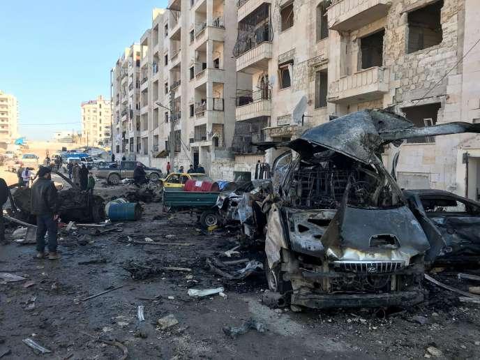 La ville syrienne d'Idlib, le 8 janvier, après une explosion.
