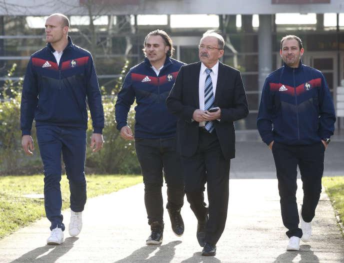 Jacques Brunel, sélectionneur du XV de France, et ses adjoints, lundi 8 janvier 2018, àMarcoussis.