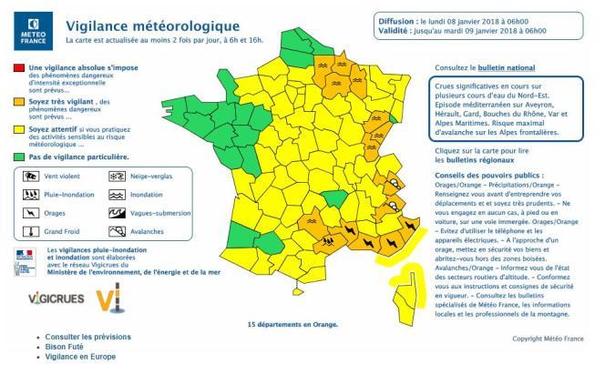 Quinze départements ont été placés lundi 8 janvier en vigilance orange par Météo France jusqu'à 6 heures mardi 9 janvier.