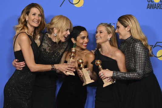 """De gauche à droite : Laura Dern, Nicole Kidman, Zoe Kravitz, Reese Witherspoon et Shailene Woodley héroïnes de la mini-série """"Big Little Lies""""."""