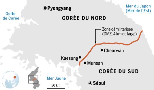 La Corée du Nord et la Corée du Sud sont séparées par une zone démilitarisée.