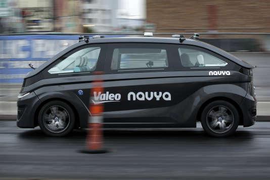 La voiture électrique autonome Navya présentée au CES de Las Vegas le 8 janvier par une start-up française utilise des technologies développées par l'équipementier Valeo.