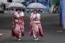 Jeunes femmes participant aux cérémonies d'entrée dans l'âge adulte, à Tokyo, le 8 janvier.