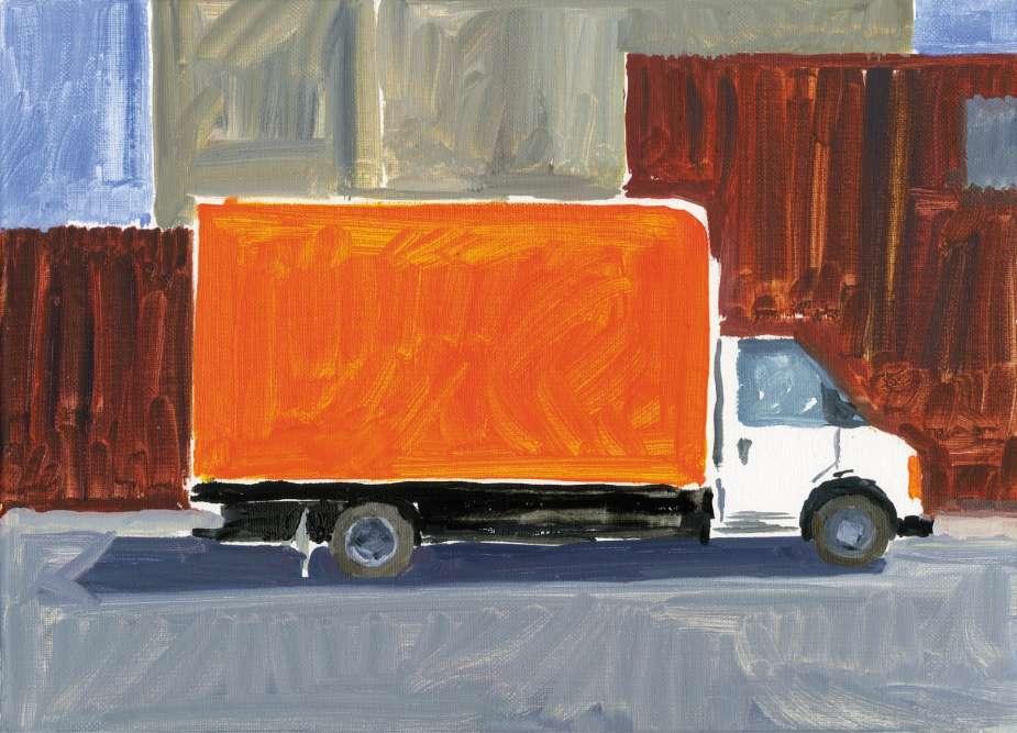 «Camion orange, Bushwick. » «La couleur se détachait, éclatante, contre les murs de brique, monochrome de hasard qui rappelait les premiers Yves Klein. Depuis plusieurs années, je peins les camions qui stationnent dans les rues autour de l'atelier et leur ressemblance avec des sculptures conceptuelles et des installations in situ. »