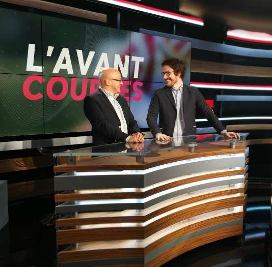 Hervé Engel (à gauche) et Anthony Latapie, sur le nouveau plateau d'Equidia.