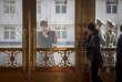 Les services de sécurité lors de la visite d'Emmanuel Macron à Pékin, le 9 janvier.