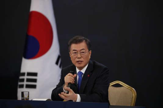 Le président de la Corée du Sud, Moon Jae-in, lors d'une conférence de presse le 10 janvier à Séoul.