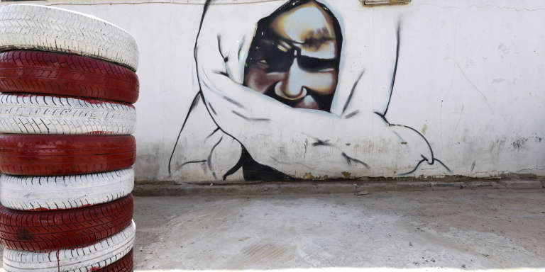 Portrait de Cheikh Ahmadou Bamba, le fondateur du mouridisme, sur un mur de Dakar, au Sénégal, en juin 2015.