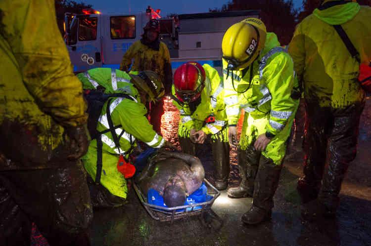 Les secouristes, à l'aide de chiens et d'hélicoptères, ont sauvé une cinquantaine de personnes coincées dans des maisons effondrées, notamment mardi une adolescente de 14 ans.