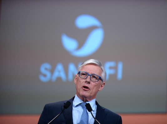 Le PDG de Sanofi, Olivier Brandicourt, lors de l'assemblée générale du groupe pharmaceutique, à Paris, le 10 mai 2017.