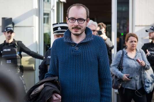 Antoine Deltour, à la sortie de la cour d'appel de Luxembourg, en mars 2017.