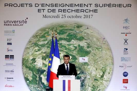 Emmanuel Macron pendant l'inauguration del'école Centrale Supélec, sur le campus de l'universite Paris-Saclay, en octobre 2017.