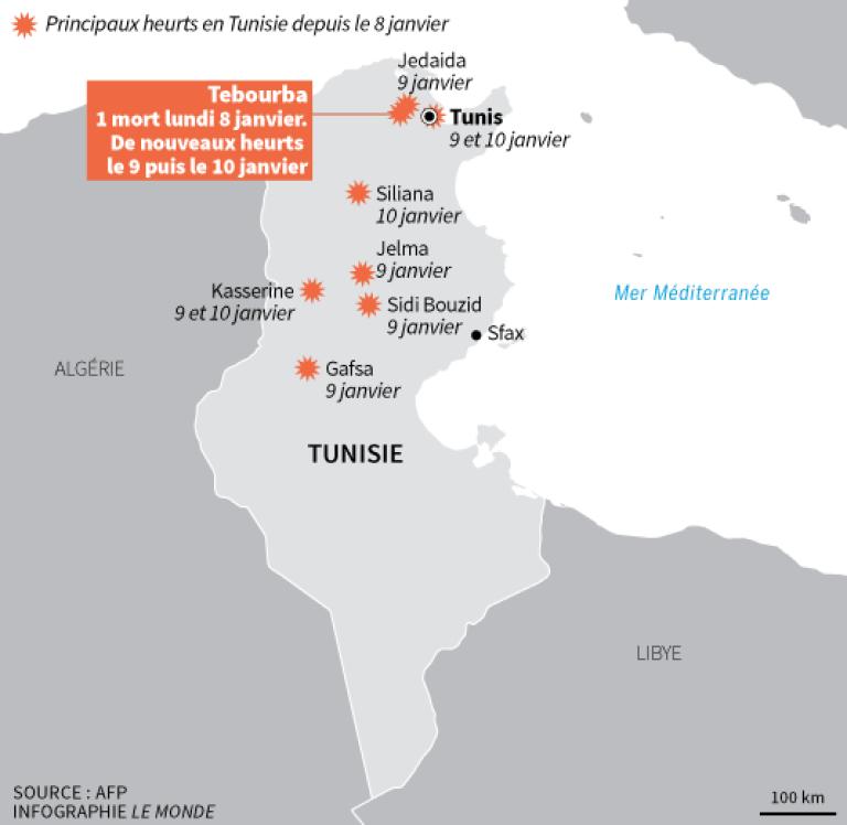 Les pricipaux heurts en Tunisie depuis le 8 janvier.