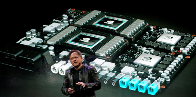 Au CES de Las Vegas, Jensen Huang, PDG de Nvidia, présente le processeur Pegasus destiné à répondre aux énormes besoins de calcul de la voiture autonome.