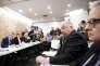 Gérard Larcher (au micro), lors de la conférence de presse de l'Assemblée des départements, le 11 novembre, à Paris.