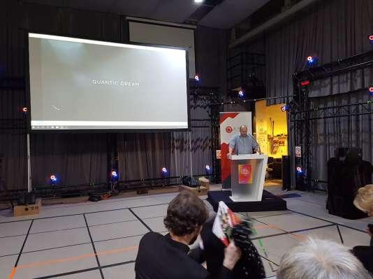 David Cage prépare une allocution dans la salle de «motion capture» (captation de mouvements des acteurs) de Quantic Dream, le 21 décembre 2017.