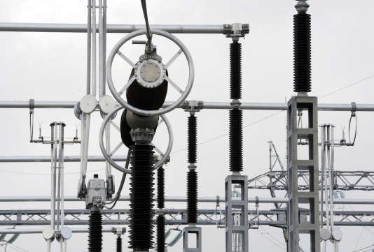 Le poste de transformation électrique destiné à renforcer l'alimentation du sud de la Bretagne, à Calan, le 17 janvier 2011.