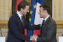 Le chancelier autrichien Sebastian Kurz reçu à l'Elysée par Emmanuel Macron, vendredi 12 janvier 2018.