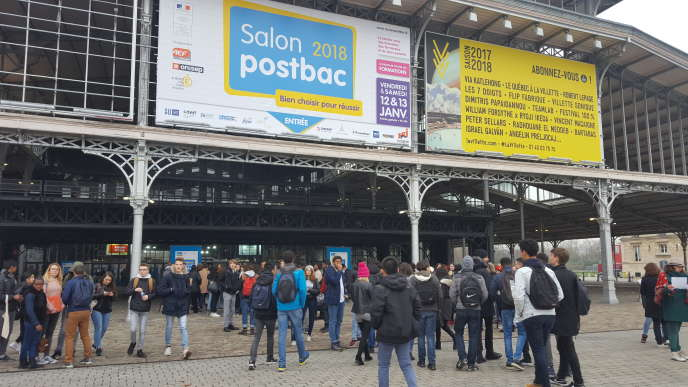 Salon Postbac –Grande Halle de la Villette, àParis, le 12 janvier 2018.