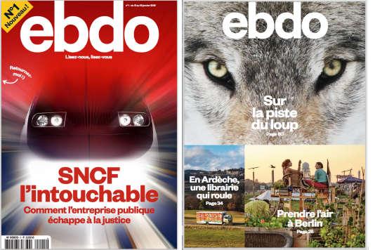 La couverture et la dernière page du premier numéro du nouvel hebdomadaire «Ebdo».