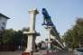 Le chantier du futur métro de la ville de Nagpur (Inde), en décembre 2017.
