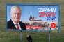 Affiche de campagne du président sortantMilos Zeman présidentielle, à Prague, le 11 janvier.