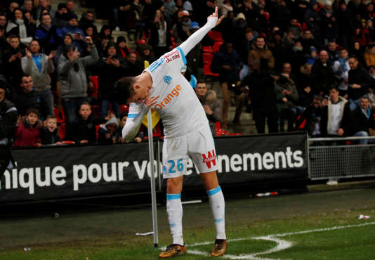 Soccer Football - Ligue 1 - Stade Rennes vs Olympique de Marseille - Roazhon Park, Rennes, France - January 13, 2018   Marseille's Florian Thauvin celebrates scoring their third goal    REUTERS/Stephane Mahe