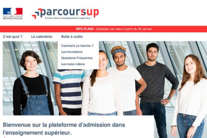 La page d'accueil de Parcoursup, qui doit ouvrir lundi 15 janvier 2018.