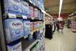 """A picture taken in a supermarket in Orleans on January 11, 2018 shows check baby milk products displayed on shelves. France said on January 11 there has been a """"major dysfunction"""" in a recall of baby milk after stores sold potentially contaminated products despite being told to take them off their shelves. Lactalis, one of the world's largest producers of dairy products, in December 2017 issued a recall of all products made at its factory in Craon, northwest France, after discovering salmonella bacteria at the site. / AFP / GUILLAUME SOUVANT"""