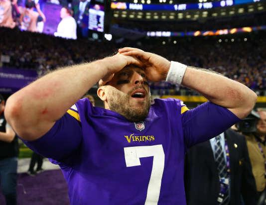 Le quarterback Case Keenum après la victoire des Vikings contre les Saints, le 14 janvier à Minneapolis.