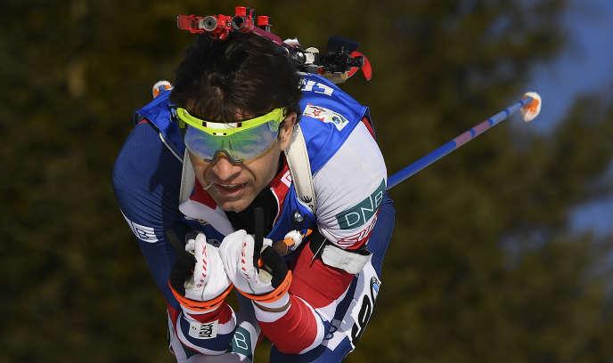 Ole Einar Bjoerndalen lors des championnats du monde d'Hochfilzen en 2017. Il avait décroché une ultime médaille mondiale, en bronze sur la poursuite.