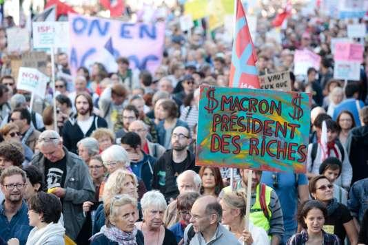 Manifestation, le 23 septembre à Paris, contre la réforme par ordonnances du code du travail.