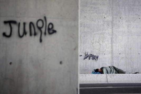 Un migrant dort sous un pont à l'entrée de la « nouvelle jungle», à Calais, le 9 août 2015.