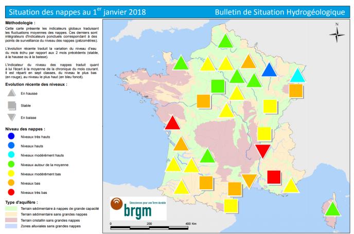 Carte de France de la situation des nappes phréatiques au 1er janvier 2018 selon le BRGM.