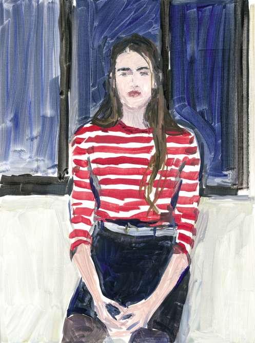 """«Lomane. » «En 1993, à New York, au cours d'un dîner en compagnie du peintre Alex Katz*, je lui ai demandé s'il peignait en faisant poser des modèles. """"Oui, bien sûr"""", m'a-t-il répondu. A cette époque, cela aurait paru plutôt incongru en France, mais c'était la réponse encourageante que j'attendais. Peindre d'après une photo m'a toujours paru un processus sans surprise, tandis que la présence d'un modèle dans l'atelier bouleverse tout. C'est un paysage changeant qui vous échappe et que l'on retrouve si l'on a de la chance. Un paysage qui vous regarde et vous empêche de le voir tout à fait.»*Peintre figuratif américain né en 1927."""