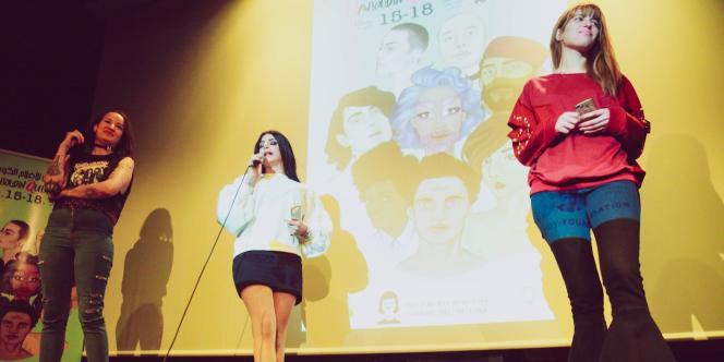 Au Mawjoudin Queer Film Festival, en janvier 2018, à Tunis.