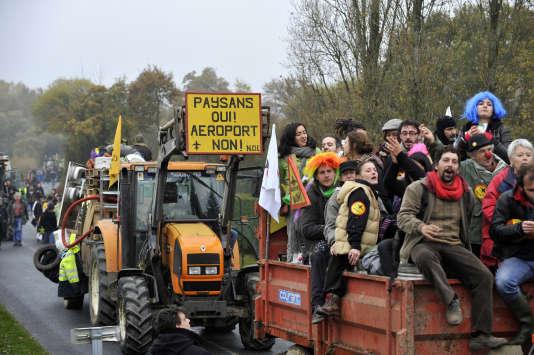 Manifestation d'opposants au projet d'aéroport à Notre-Dame-des-Landes, auquel le gouvernement a renoncé.
