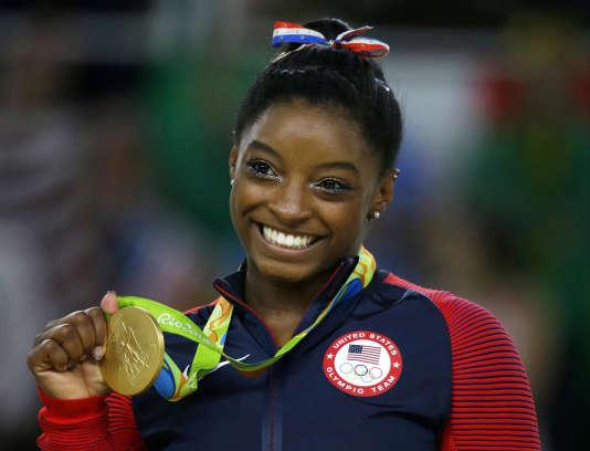 La gymnaste américaine Simone Biles aux Jeux olympiques de Rio, en 2016.