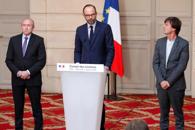Gérard Collomb, Edouard Philippe et Nicolas Hulot, au palais de l'Elysée, le 17 janvier.
