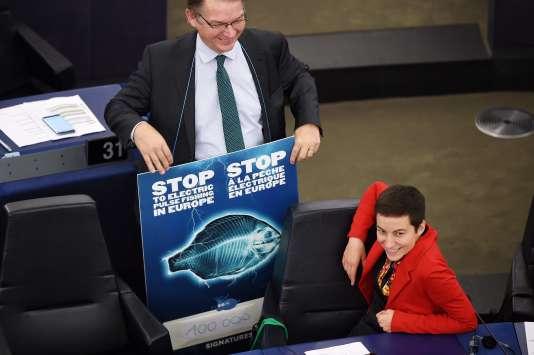 Les députés européens Philippe Lamberts et Ska Keller (les Verts ) au Parlement européen de Strasbourg, le 16 janvier.