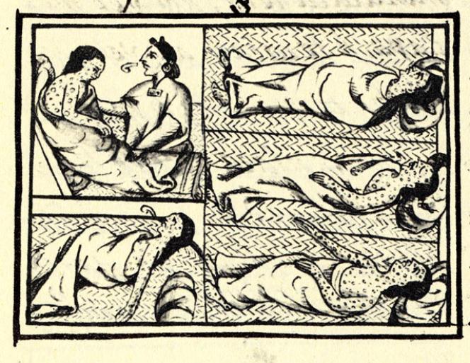 Des Amérindiens malades de la variole au XVIe siècle, représentés dans le Codex de Florence.