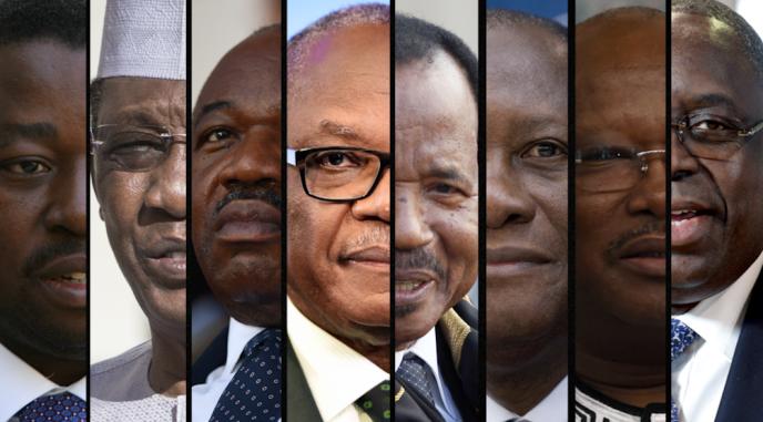 De g. à dr. : Faure Gnassingbé, Idriss Déby, Ali Bongo, Ibrahim Boubacar Keïta, Paul Biya, Alassane Ouattara, Roch Marc Christian Kaboré et Macky Sall.